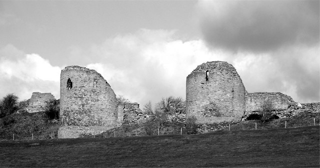 A black and white image of Chartley Castle