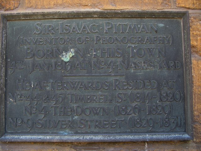 Isaac Pitman memorial plaque