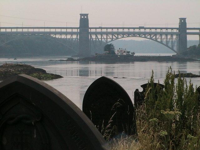 Pont Britannia from Church Island