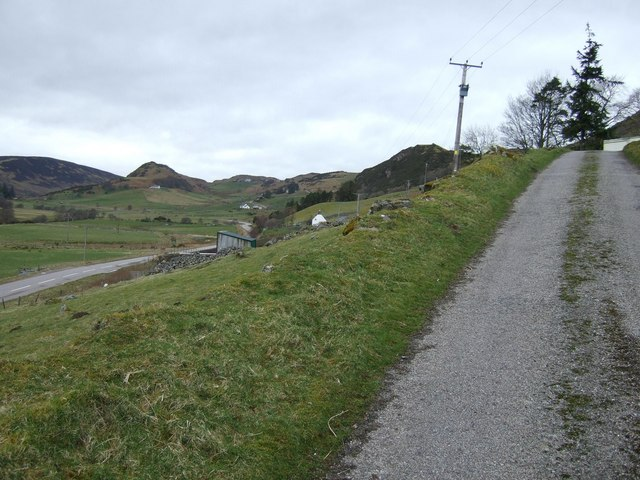 Driveway and the view West towards Muie