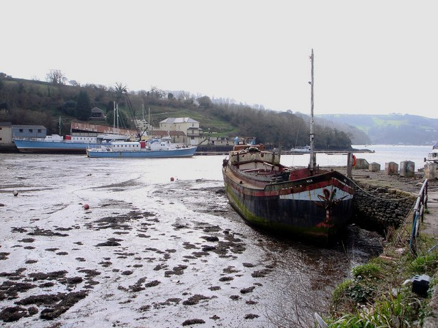 Galmpton Creek, old boat rests on the mud