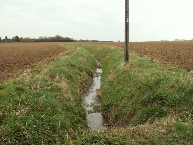 A ditch across farmland