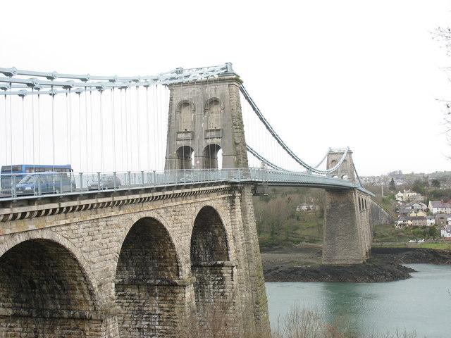 Pont Menai and Porthaethwy from the Gwynedd side