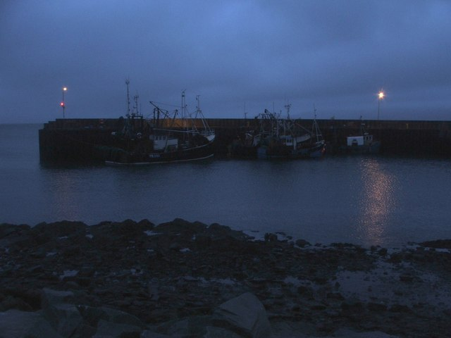 Carradale Harbour After Sunset.