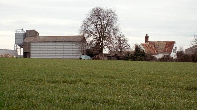 Looking across a field to Goddards Farm