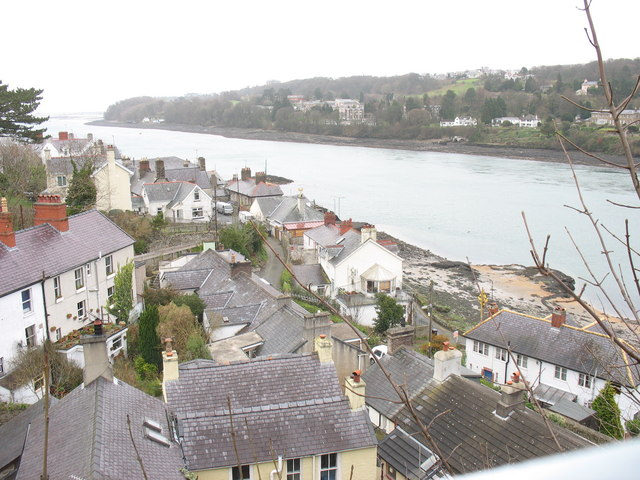 The Beach Road area of Porthaethwy/Menai Bridge viewed from Pont y Borth