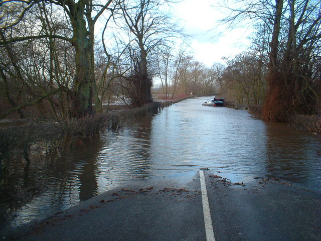 The B1223 Ulleskelf road flooded in January 2005