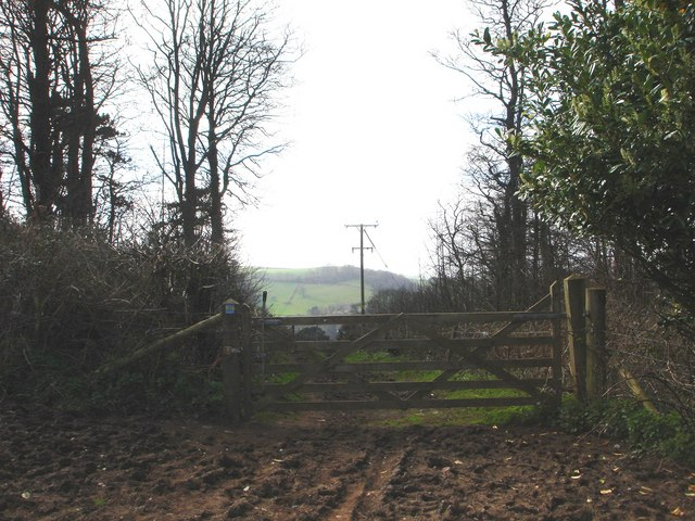 Field gate, permissive footpath to Greenway House