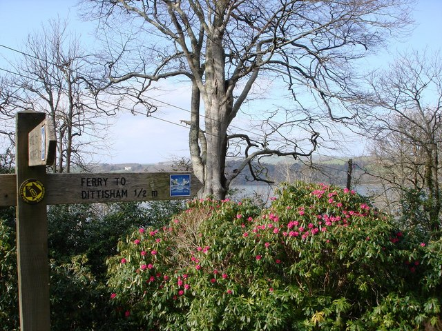 Greenway House, Footpath Signpost, Rhododendrons