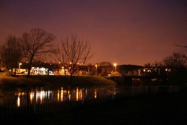 Fatfield Bridge at Night over the River Wear.
