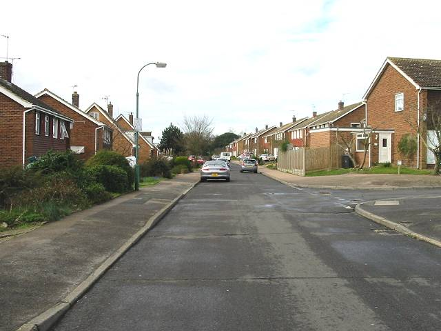 Looking SW along Cedar Road, Sturry