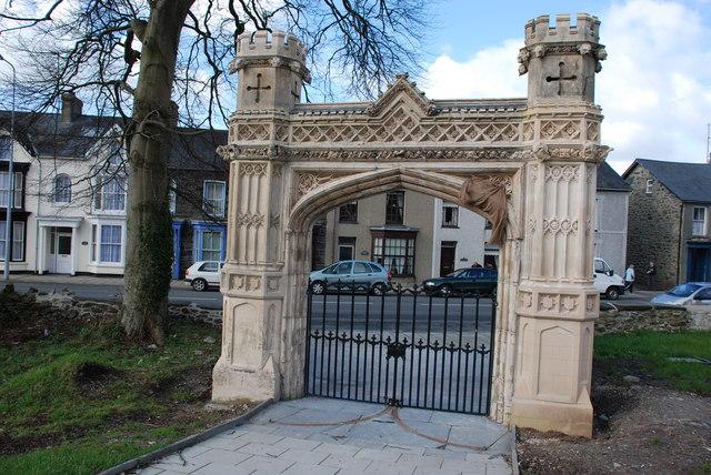 Restored gateway to St Mary's Church Tremadog