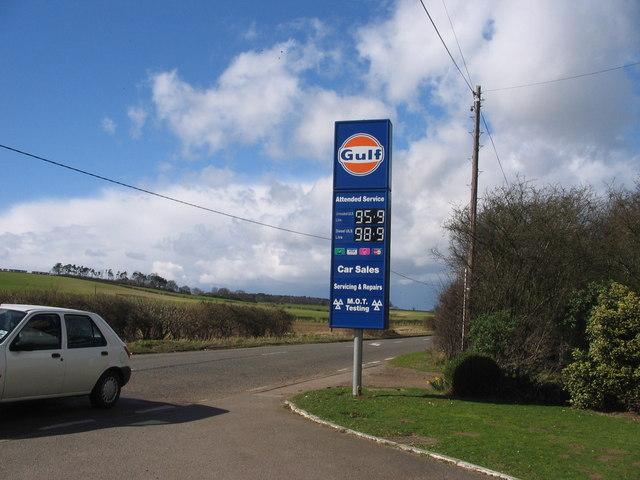 Petrol sign at Langley Motors off B656 south of Rush Green