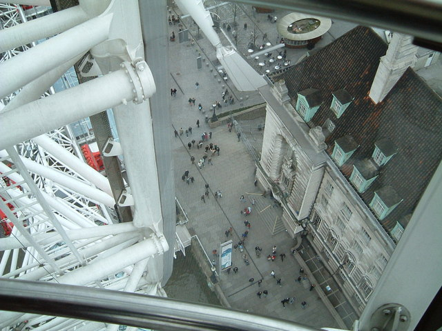 Looking down from the top of the London Eye