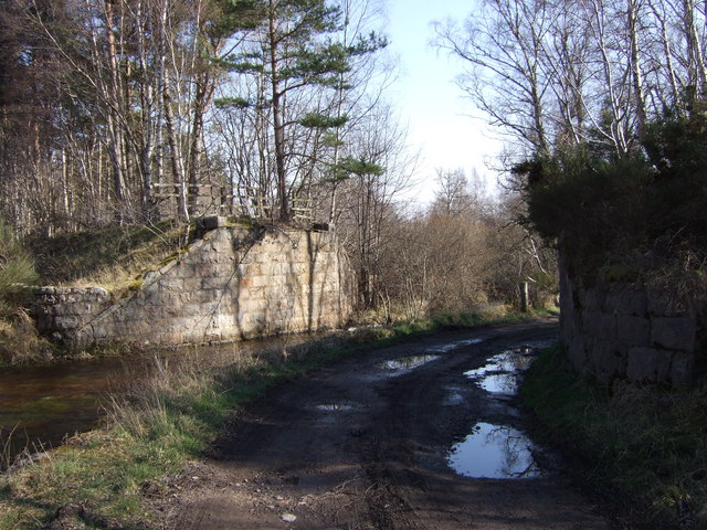 Dinnet Burn and old Deeside Railway crossing