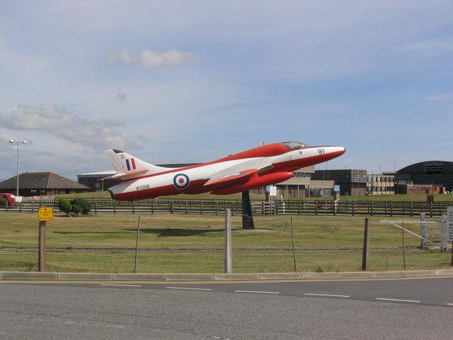 Aircraft at the entrance to RAF Valley