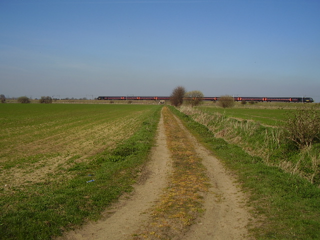 Train crosses bridleway