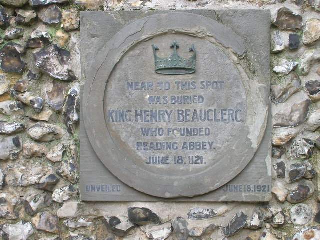 Plaque at Reading Abbey in memory of King Henry I