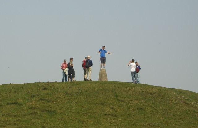 Trig point on Tumulus on Garth Hill