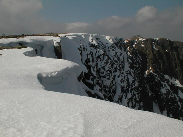 Snow cornice at the summit of Lochnagar