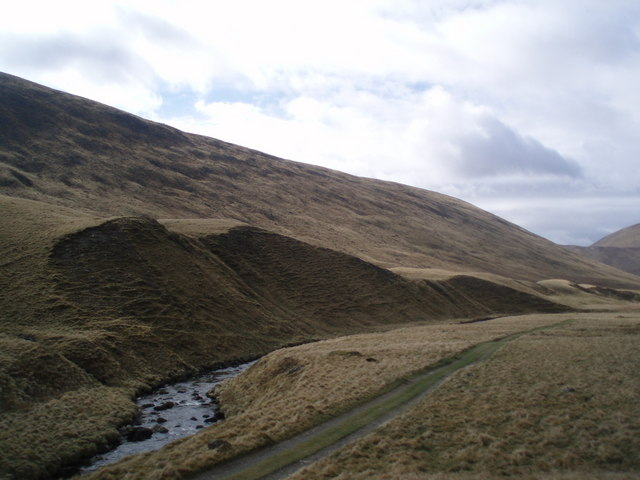 Lateral moraine, upper reaches of Glen Isla.