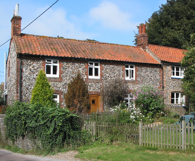 Norfolk flint row of cottages, Stiffkey
