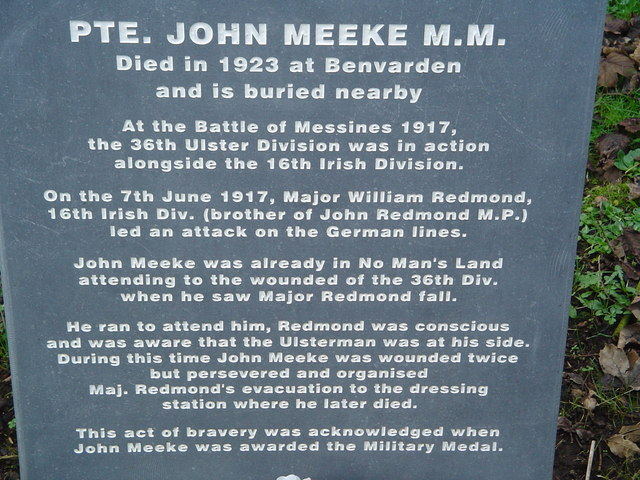Memorial to John Meeke in Derrykeighan old churchyard