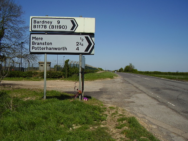 A15 passes Waddington airfield