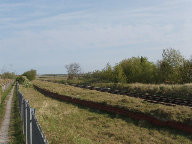 Railway and path past Altcar Training Camp