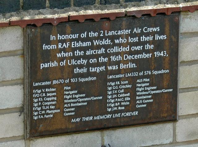 Plaque at Ulceby War Memorial
