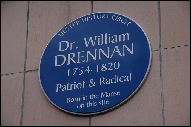 Drennan plaque, Rosemary Street, Belfast