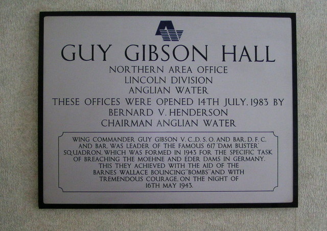 Plaque in Guy Gibson Hall