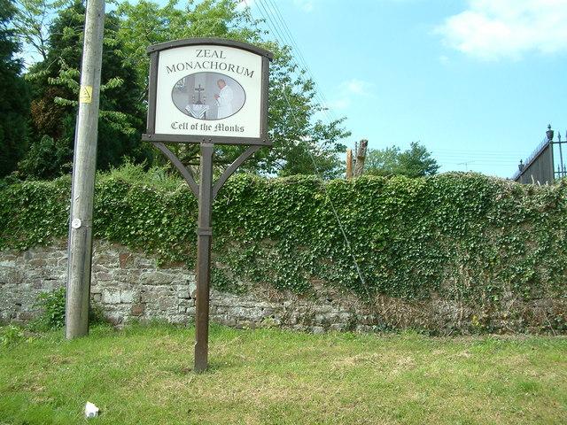 Sign at St Peter's church, Zeal Monachorum, Devon