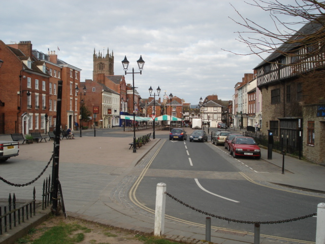 Ludlow town centre from the Castle entrance