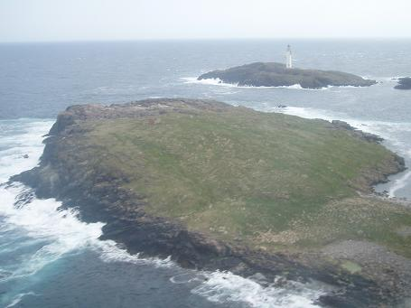 Aerial view of the uninhabited island of Grunay