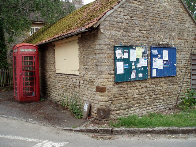 Easton Maudit notice board and red phone box