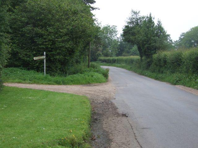 Public Footpath leaves the Road near Westfield