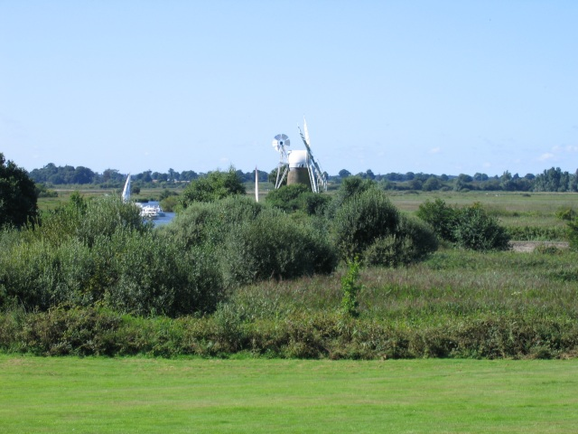 Turf Fen Windpump seen from How Hill House