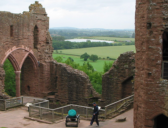 Goodrich Castle walls and view beyond.