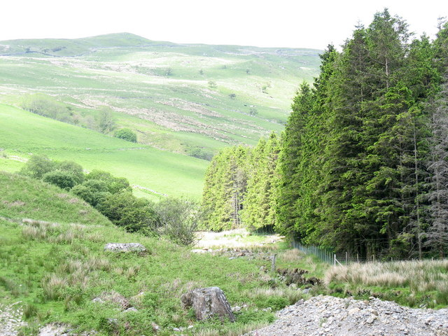 View up the Bryn-llin-fawr valley from the forestry bridge