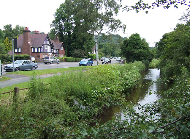 Smestow Brook and A454, Wightwick, near Wolverhampton