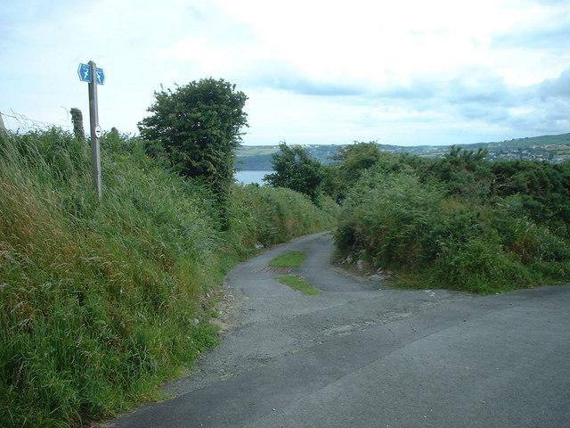 Coastal footpath  junction at  Ballaragh Road