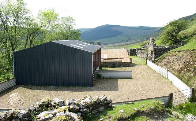 Modern sheep shearing shed and yard at Allt-lwyd