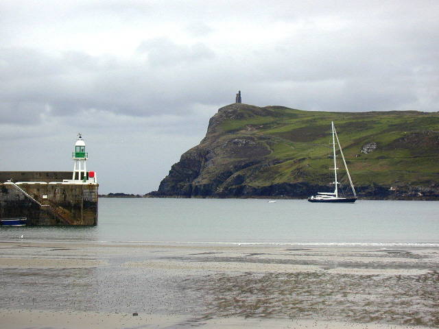 Port Erin beach and end of breakwater, Bradda head at rear.