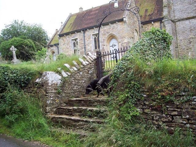 Steps and gate to All Saint's Church, Kington Magna