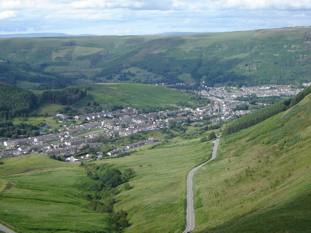 Looking down Cwm Dar, and the road to Treorchy