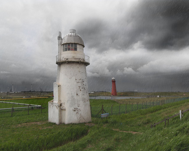 South Killingholme lighthouses in rain