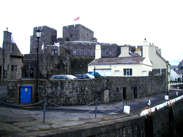 Castle Rushen, and Castle Arms Hotel (Gluepot), Castletown