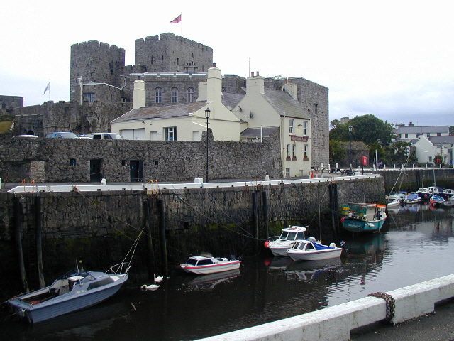 "Castletown harbour with the ""Gluepot ""and Castle Rushen"