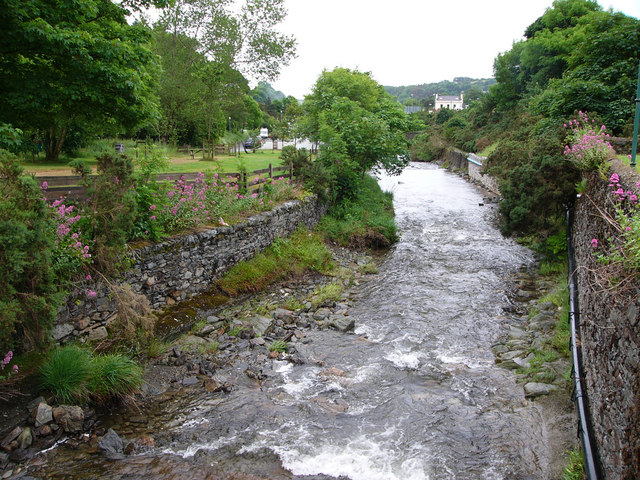 Laxey River,  from the footbridge to Laxey Wheel